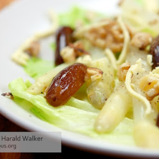 White Asparagus with Walnuts, Dates and Soy Cheese