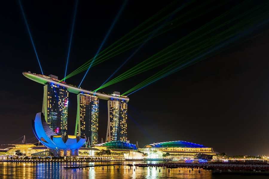 Laser Show by Aditya Permana - Buildings & Architecture Office Buildings & Hotels ( , mood factory, color, lighting, moods, colorful, light, bulbs, mood-lites, city at night, street at night, park at night, nightlife, night life, nighttime in the city )