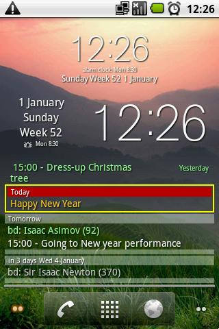 Clock and event widget (Free) - screenshot