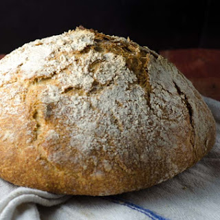 Whole Grain, No-Knead Sourdough Bread.