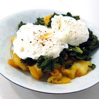 Roasted Sweet Potatoes and Kale with Poached Eggs.