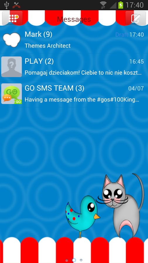 GO SMS Pro Cute Animals Theme - screenshot