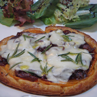 Very Thin Puff Pastry Tart with Sweet Potato, Onion Confit and Scamorza.