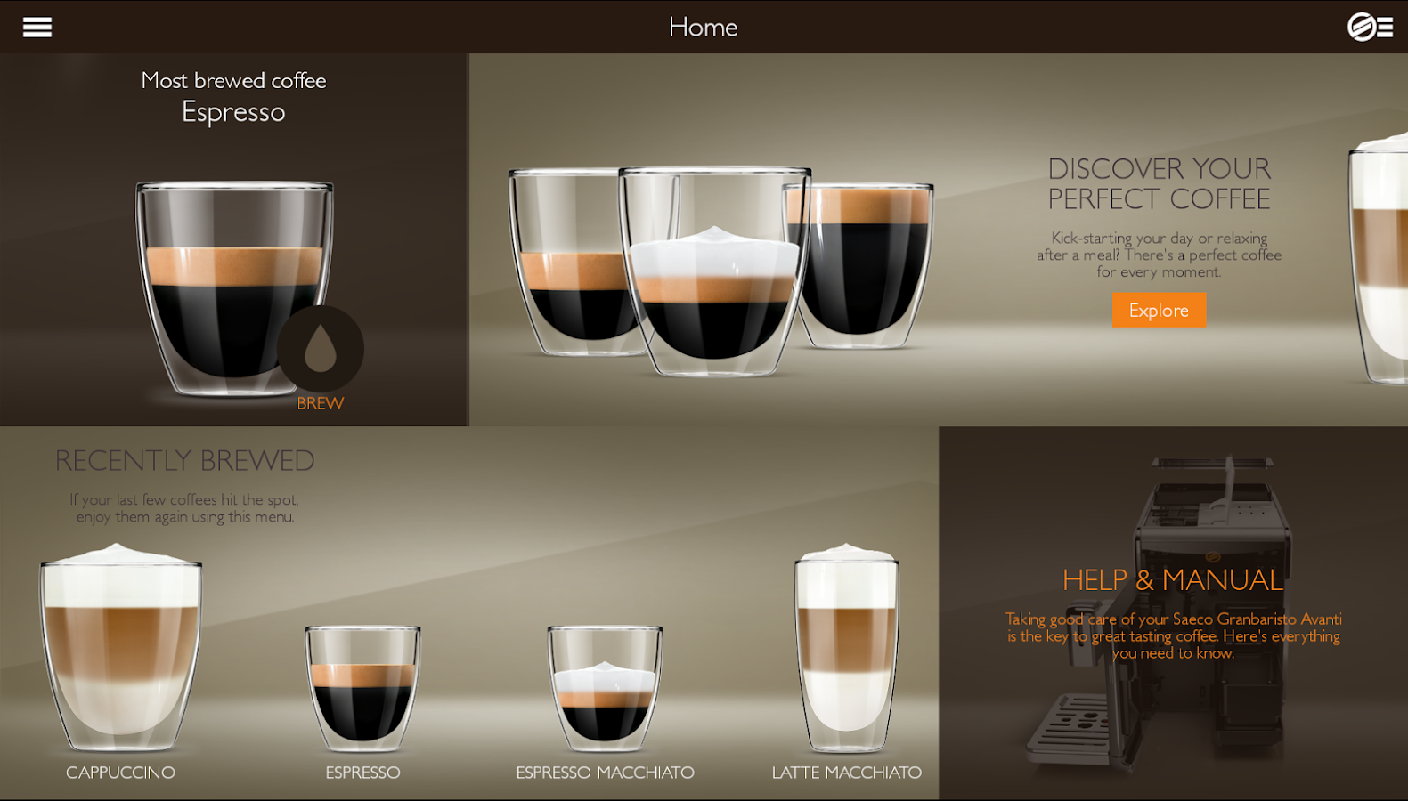 Saeco Avanti espresso machine- screenshot