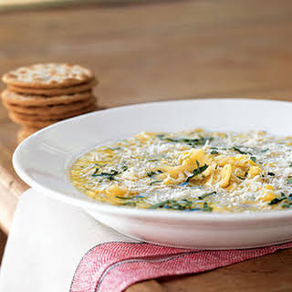 Summer Squash Soup with Pasta and Parmesan.