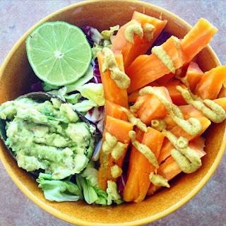 """Sweet Potato """"Fries"""" (Oil/Salt Free) with Avocado Mash."""
