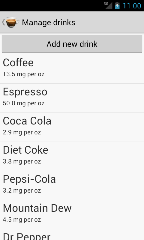Caffeine Tracker - screenshot