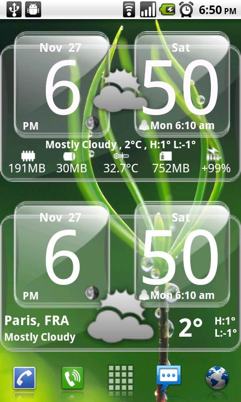 Sense Analog Glass Clock 4x2 - screenshot