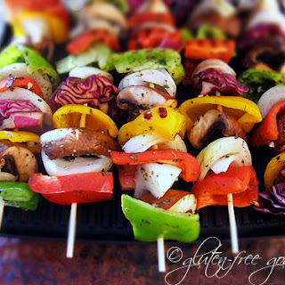 Grilled Veggie Kebabs on Dirty Rice.