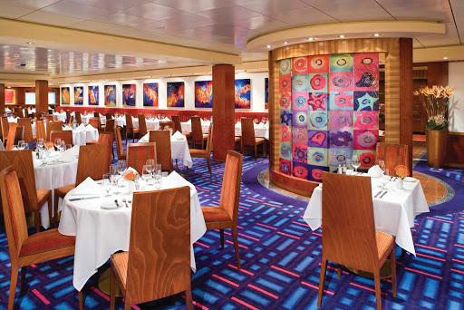Norwegian-Jade-dining-Alizar - Alizar, Norwegian Jade's main dining room, is distinguished by its colorful, Mark Rothko-inspired decor and the creations of seasoned chefs.
