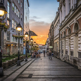 Belgrade, Serbia by IP Maesstro - City,  Street & Park  Street Scenes ( sky, belgrade, serbia, sunset, street, , golden hour, sunrise )
