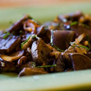 Purple Potatoes with Caramelized Onions and Shiitake Mushrooms.
