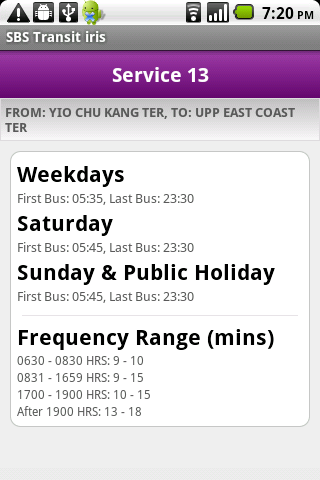 SBS Transit iris - screenshot