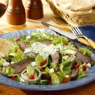 Gyro Steak Salad (with Tzatziki dressing).