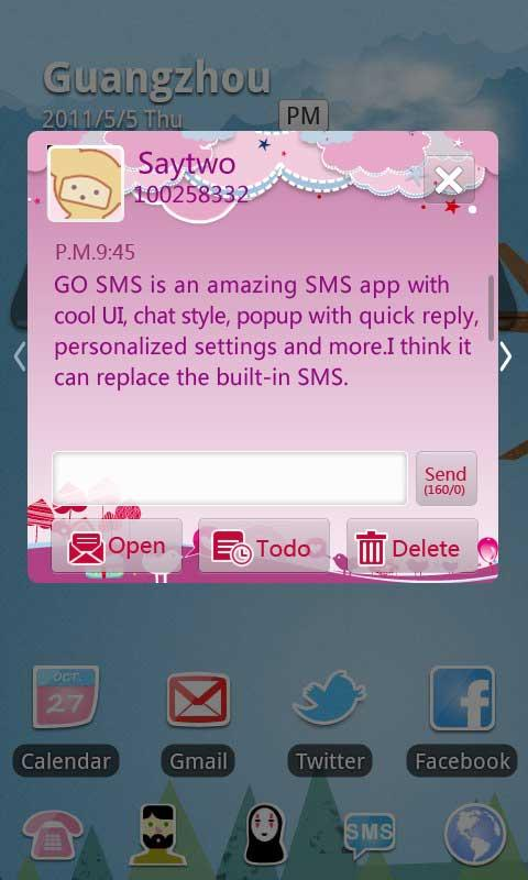 GO SMS Pro Bird Lover Theme - screenshot