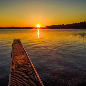 View from the Dock by Troy Snider - Landscapes Sunsets & Sunrises ( water, calm, sunstar, sunrise, still water, dock )