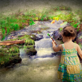 The Artist by Melissa Connors - Digital Art People ( child, stream, girl, nature, innocence )
