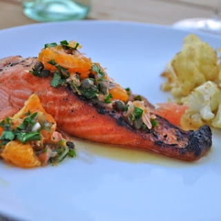 Broiled Salmon with Grapefruit & Herb Salsa