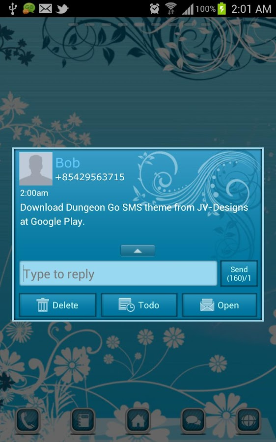 Turquoise Go SMS Theme - screenshot