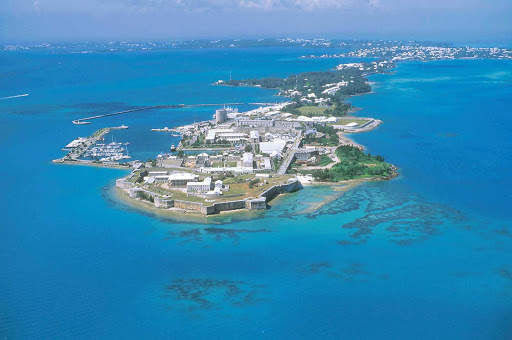 Royal-Naval-Dockyard-Bermuda-aerial - An aerial view of the Royal Naval Dockyard in Bermuda, which served as the principal base of the British Royal Navy in the Western Atlantic between American independence and the Cold War.