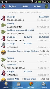 aCar - Car Management, Mileage Screenshot 2