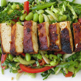 Spicy Baked Tofu on Asian Slaw.