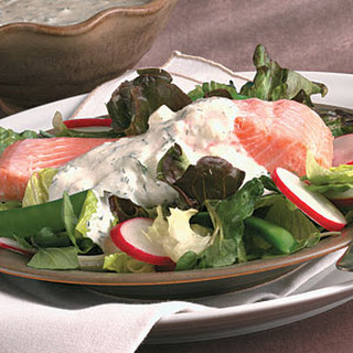 Poached Salmon Salad with Cucumber Dressing