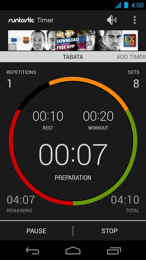 Runtastic Workout Timer App- screenshot