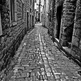 Pebble street by Matevz Skerget - Black & White Buildings & Architecture ( pebble, b&w, black & white, street, n )
