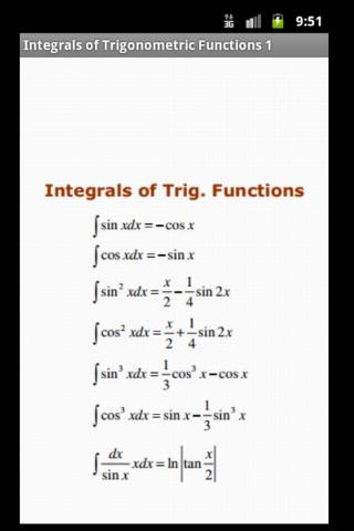 Maths Integration Formulas