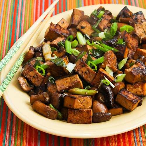 Stir-Fried Marinated Tofu and Mushrooms Recipe