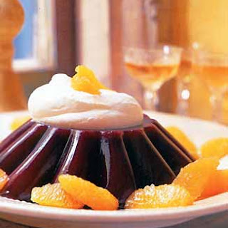 Blood Orange Jelly with Brandied Whipped Cream.