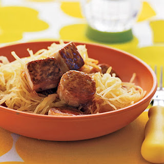 Maple-Glazed Tofu with Spaghetti Squash