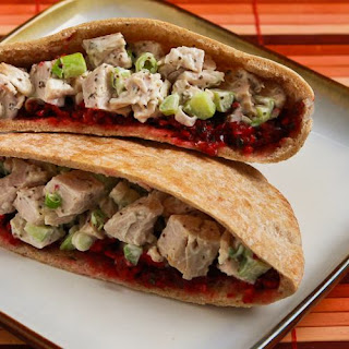 Easy Leftover Turkey Pita Sandwiches with Fresh Cranberry Salsa