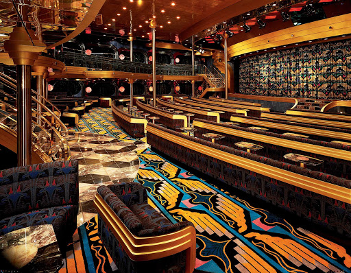 Carnival-Ecstasy-Blue-Sapphire-Lounge - Catch Vegas-style shows, big-screen movies, talks and game shows at the Blue Sapphire Lounge, Carnival Ecstasy's main theater.