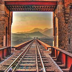 Attock Bridge ! by Agha Ahmed - Transportation Railway Tracks ( pakistan, railroad tracks, railway, sunset, bridge )