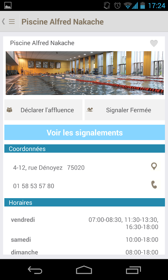 Piscines – Capture d'écran