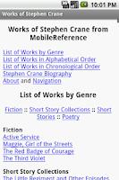 Screenshot of Works of Stephen Crane