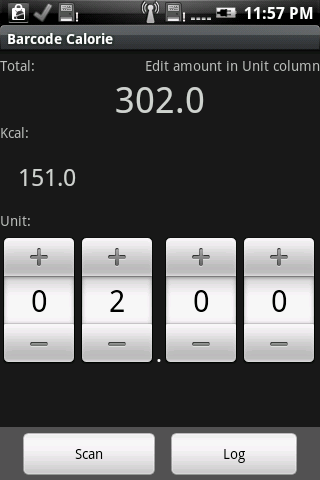 Barcode Calorie- screenshot