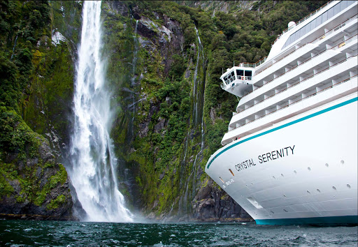 View gorgeous waterfalls up close when Crystal Serenity takes you through Milford Sound in New Zealand.