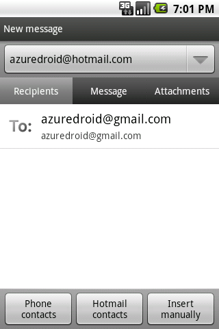 Azure Hotmail - screenshot