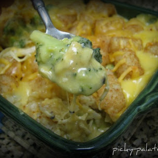 Broccoli Cheddar, Chicken and Tater Tot Casserole.