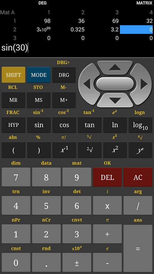 HF Scientific Calculator - screenshot
