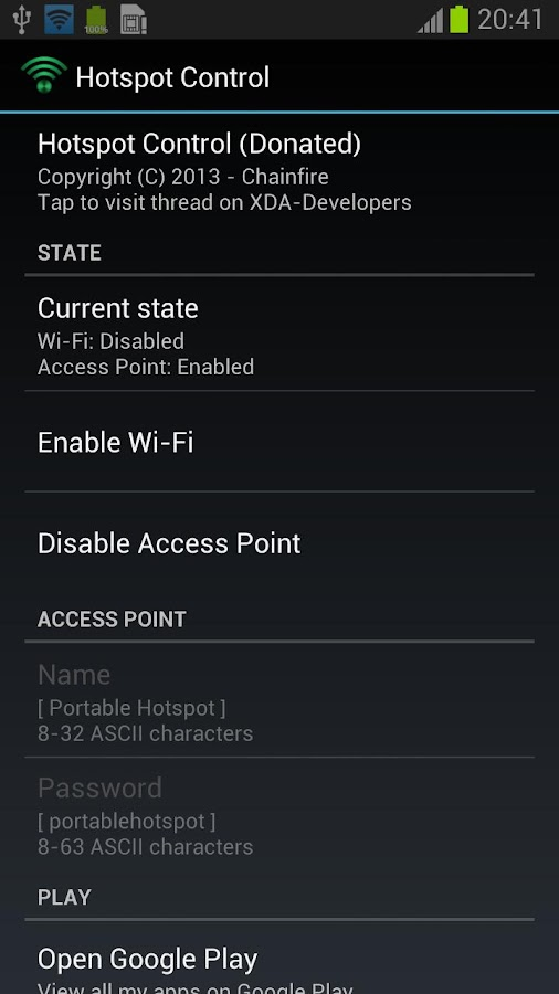 Hotspot Control - screenshot