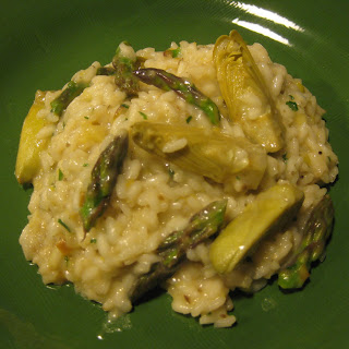 Early Spring Risotto with Fava Beans, Asparagus and Artichokes.