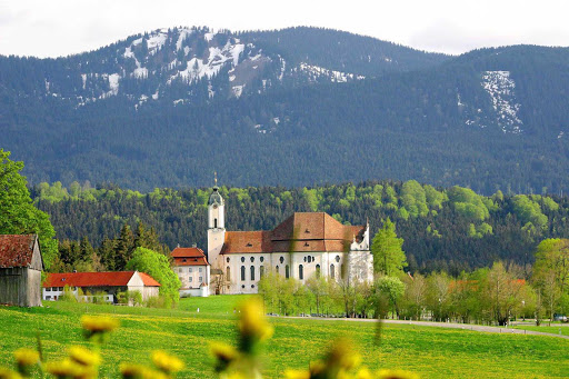 The Pilgrimage Church of Wies, or Wieskirche Pilgrimage Church, at the foot of the Alps near Pfaffenwinkel, Germany. It's a UNESCO World Heritage Site.