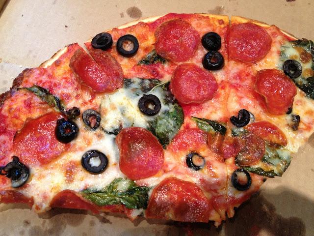 Mostly gone! Pepperoni, basil, & black olive!