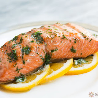 Grilled Salmon with Dill Butter.
