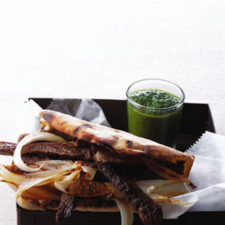 Spiced Beef and Onion Pitas with Parsley Sauce