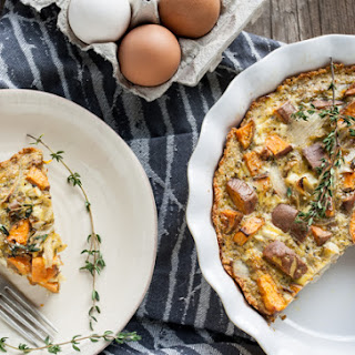 Sweet Potato & Goat Cheese Quiche with Quinoa Crust